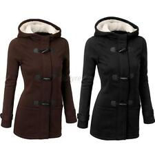 Womens Double-breasted Lapel Wool Trench Coat Parkas Mid Long Jacket Hoodie D23