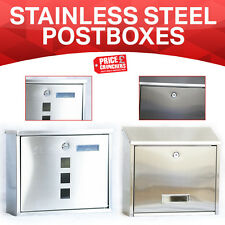 Lockable Mailbox Post Letter Box Newspaper Holder Wall Mounted Stainless Steel