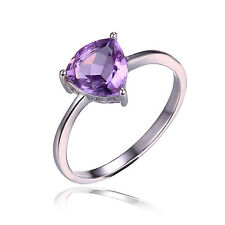 JewelryPalace Trillion 1.1ct Natural Purple Amethyst  Ring  925 Sterling Silver