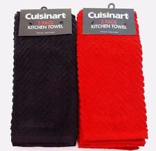 Cuisinart 2 pack Cotton Chevron Pattern Terry Cloth Embroidered Kitchen Towels