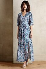NEW Anthropologie Silk Tilework Maxi Dress by Maeve Size 00, 2, 6P, 10