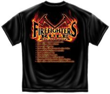 Erazor Bits T-Shirt - Fire Fighter - Firefighter Rules -  Black
