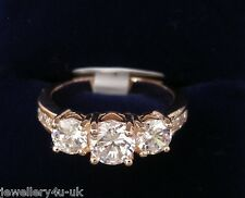 Engagement Rose Gold Plated 3 Stone Brilliant Cut Ring Heart Gift Size J,N,P,R