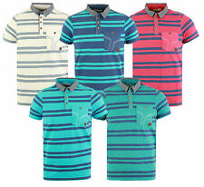 New Mens Smith & Jones Contrast Striped Short Sleeve Polo T Shirt