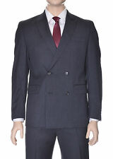 Alfani RED Slim Fit Solid Charcoal Heather Gray Double Breasted Wool Suit