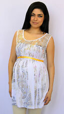 Paisley Sublimation White Lace Gold Ribbon Maternity Sleeveless Top S M L XL