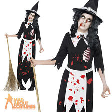 Adult Zombie Salem Witch Costume & Hat Womens Halloween Witches Fancy Dress New