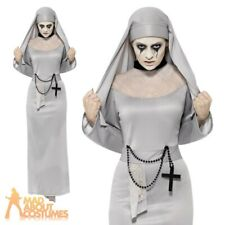 Adult Gothic Nun Costume with Cross Scary Mary Fancy Dress Halloween Outfit New