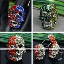1pc Fashion Womens Skull Rhinestone Crystal Glass Finger Ring Adjustable US 7