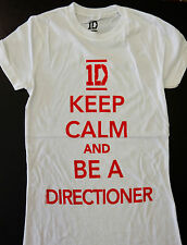 NEW! Girls Size White Keep Calm Be a Directioner 1D One Direction Shirt XS Small