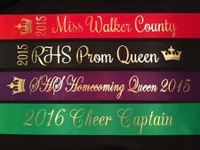 Homecoming Prom Pageant Cheer Sash CHOOSE YOUR WORDING & COLOR