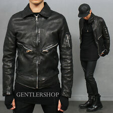 Mens Fashion Genuine Double Zip Pocket Slim Fit Lamb Leather Jacket, GENTLERSHOP