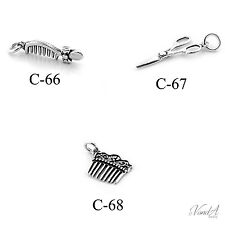 Sterling silver Hair Comb and Scissor charms FOR Bracelet Necklace 925 charm