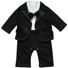 Baby Boys Formal Suit Set Tuxedo Wedding Bow Shirt Romper Jacket Clothes Outfit