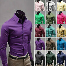 New Luxury Shirts Mens Smart Casual Formal Dress Suit Slim Fit Shirt Top XS-XXL