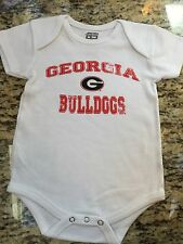 GEORGIA BULLDOGS- BABY CREEPER- 12,18 &24 MONTH WHITE W/RED -BRAND NEW