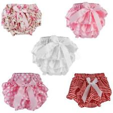 Infant Baby Girl Satin Frilly Knickers Pants Bloomers Diaper Nappy Cover 0-2Y