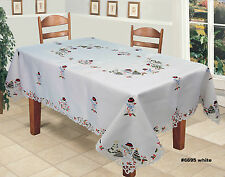 Holiday Embroidered Snowman Christmas Tree Tablecloth With Napkins White 6695