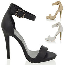 NEW LADIES HIGH HEEL PLATFORM PEEP TOE WOMENS ANKLE STRAPPY BUCKLE SANDALS SHOES