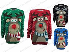WOMENS LADIES 3D NOSE RUDOLPH REINDEER KNITTED CHRISTMAS JUMPER PLUS SIZE 8-22