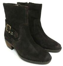 LADIES HUSH PUPPIES BROWN WAXY SUEDE LOW HEEL ZIP UP CASUAL ANKLE BOOTS PENNINE