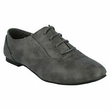 SALE LADIES SPOT ON ROUND TOE LACE UP FLAT SYNTHETIC CASUAL BROGUE SHOES F8711