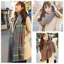 Fashion Women Blanket Oversized Tartan Scarf Wrap Shawl Plaid Checked Pashmina