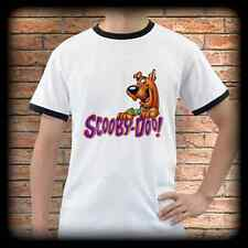 New SCOOBY DOO White Ringer T-Shirt Tee Shirt