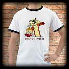New CALVIN AND HOBBES White Ringer T-Shirt Tee Shirt