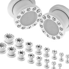 Flesh Tunnel Stainless Steel Piercing Ear Plug Gauge Rhinestones 2 Set or 1Pair
