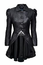 Ladies Black Mystique Soft Gothic Style Lamb Skin Leather Designer Jacket Coat