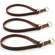 Strong Hand Crafted Brown Genuine Leather Slip Dog Training Choke Collar M L XL