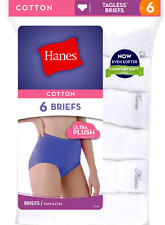 Women's Hanes 6 Pack White 100% Cotton Briefs ALL SIZES 6-10 Underwear Panties