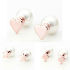 1Pair Fashion Gold Plated Elegant Women Faux Heart Pearl Ear Stud Earrings New