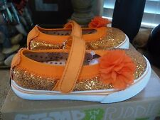 NIB Morgan and & Milo Dazzle Orange Glitter Mary Jane Sneakers Shoes 8-13 FALL
