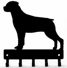 Rottweiler Dog Leash Hanger Key Rack Holder 5 Hooks Made USA Metal Sm/Lg Gifts