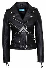 CLASSIC BRANDO Ladies Black Biker Style Motorcycle Cruiser Hide Leather Jacket
