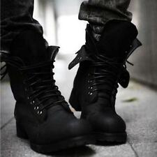Mens Retro Combat Leather Mid Calf Boots Classic Winter Lace Up Shoes Size Black