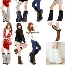 Women Faux Fur Fluffy Shaggy Leg Warmers Boot Shoes Covers Ankle Sleeve Muffs OO