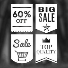 SET OFF 4 SALE STICKERS display window retail decal vinyl sales removable