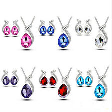 Crystal Pendant Chain Necklace Women Chic Stud Silver Plated Earring Jewelry Set