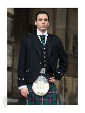 ARGYLE (ARGYLL) SCOTTISH KILT JACKET - BLACK - 100% WOOL - CHEST 52""