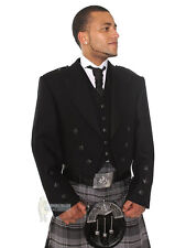 PRINCE CHARLIE SCOTTISH WOOL KILT JACKET & VEST - BLACK BUTTONS - CHEST 38""