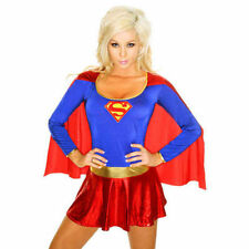 SEXY SUPER GIRL COSTUME HERO FANCY DRESS OUTFIT SIZE FITS 4 6 8 10 12 14 16 18