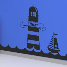 PERSONALISED LIGHTHOUSE WALL STICKERS sea vinyl decal island sailor boat art