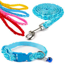 Cute Nylon Dog Puppy Cat Collars & Leashes Set with Bell 4 Colors For Small Pets