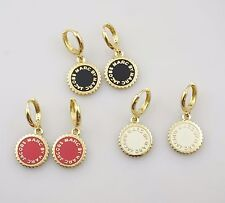 Marc by Marc Jacobs Saw Tooth Enamel Logo Disc Gold Tone Drop Earrings