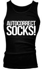 Autocorrect Socks Sucks Funny Humor Internet Meme Joke Boy Beater Tank Top