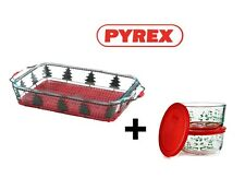 Pyrex Holiday Christmas Tree 2pc Serveware Set & 4pc Storage Bowls Set LMT EDTN
