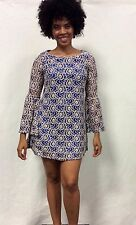 60s Vintage-y Retro Mini Cocktail Dress Blue Lace Shift Bell Sleeve New S M L XL